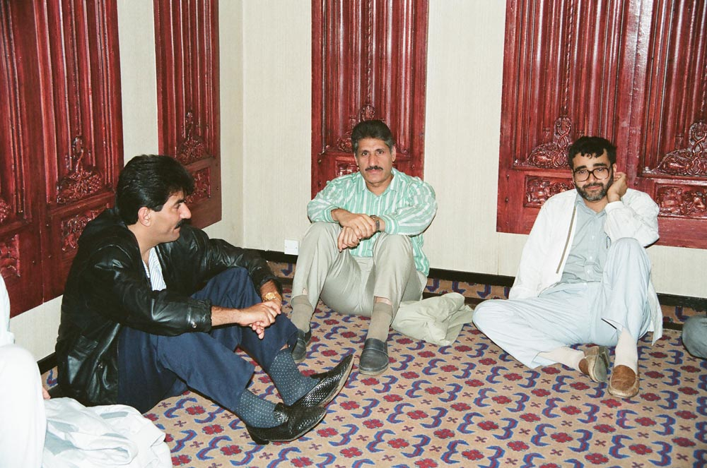 September 7, 1990  Audience included (from left) Salman Haider, Abdulnabi Jamal, and Rida Tabtabai at first meeting of the Kuwaiti People's Movement