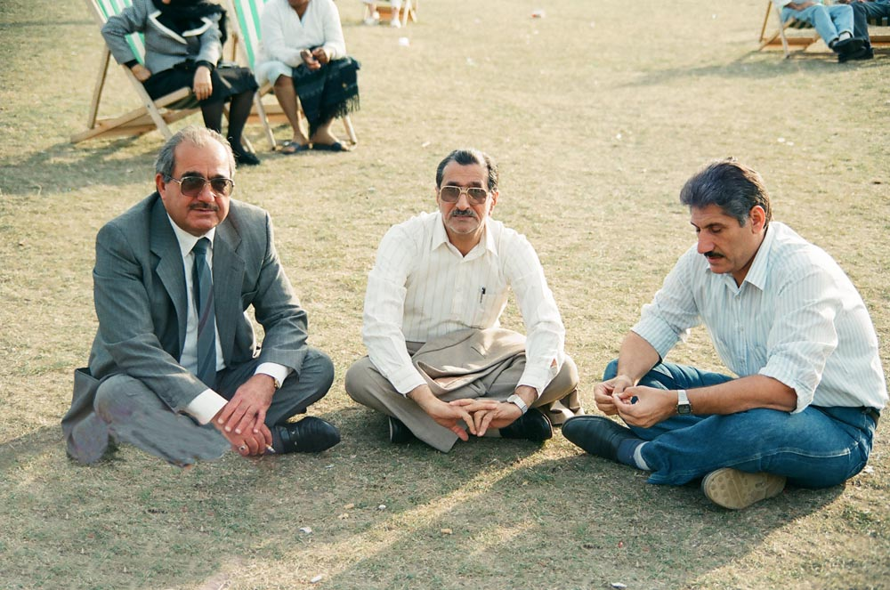 September 9, 1990  In Hyde Park, Kuwaitis discussing the occupation included (from left) Hamza Mukamis, Mansour Al-Saffar, and Abdulnabi Jamal.