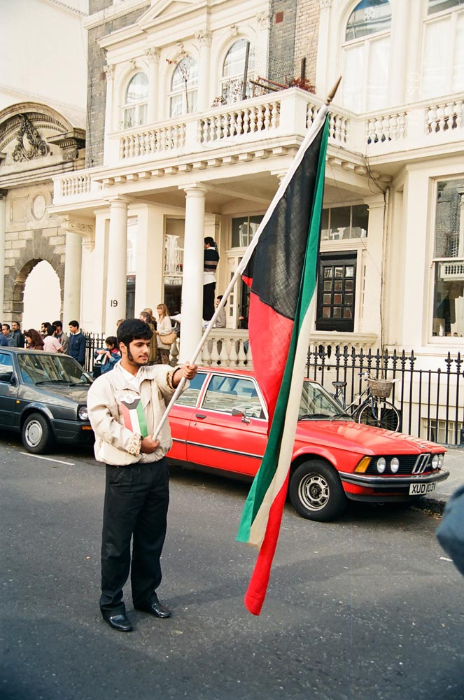 October 7, 1990  Standard bearer leading the second major march and rally