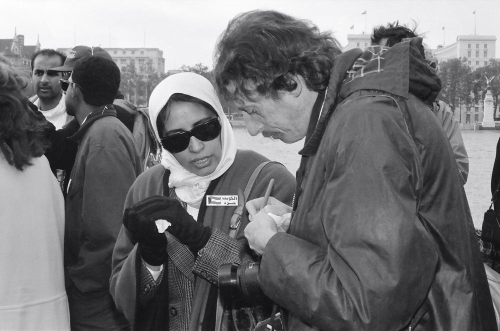 November 2, 1990  Sheikha Fadia Al-Sabah being interviewed by a journalist at the morning event