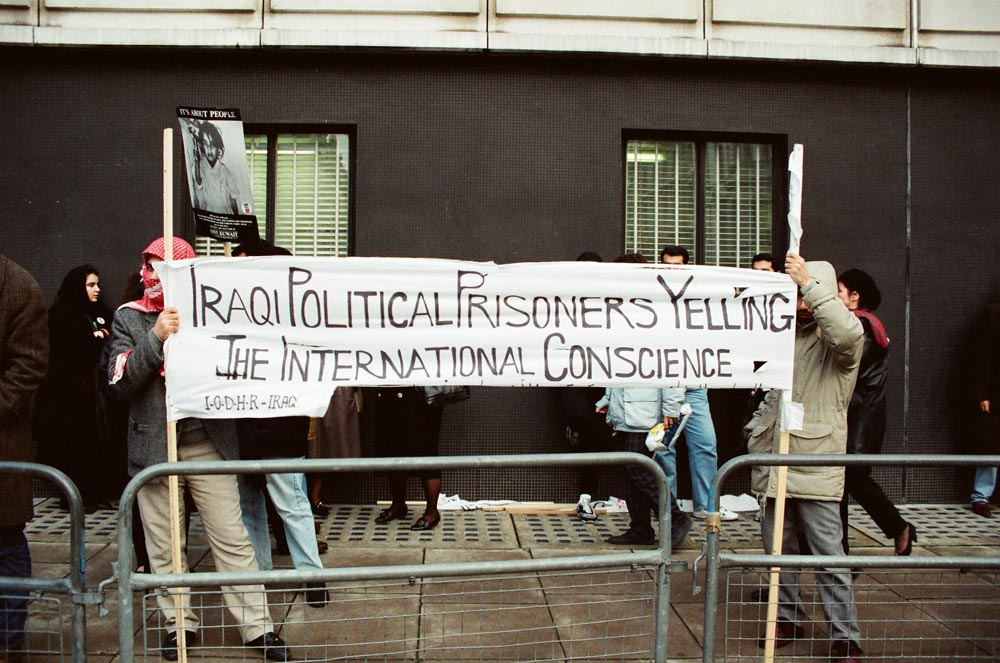 January 2, 1991  Iraqi protestors at the joint Kuwaiti-Iraqi demonstration at the Iraqi Embassy