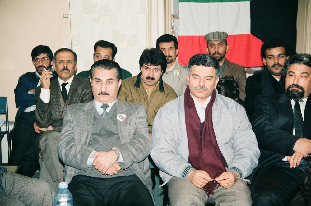 January 5, 1991  Participants at the KPC diwaniya included in front row (from left) Sadiq Al-Mutawa and Jassim Qabazard. In the 2nd row are (from left) Hussein Al-Mazeedi and Abdullah Hayat. In the back row is (3rd from left) Hussein Al-Mazdi.