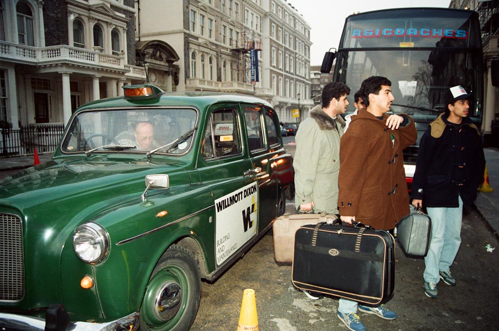 February 6, 1991  Kuwaiti volunteers arrive at their Embassy to sign up to join the coalition forces. Kuwaiti men aimed to serve as interpreters with the American and British troops. Kuwaiti women left London a month later to join the Kuwait Red Crescent Society (the Islamic Red Cross). (See also  and .)