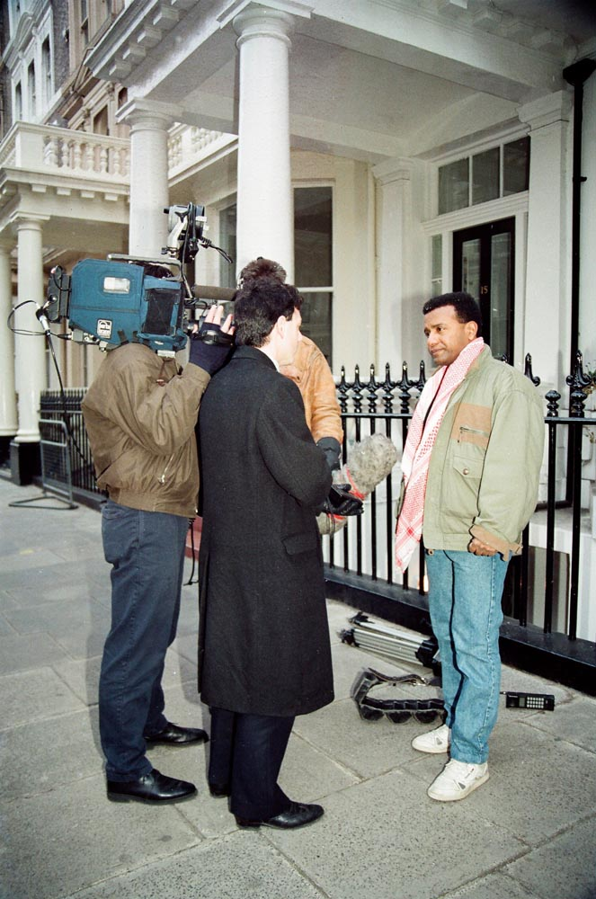 February 6, 1991  Ali Al-Mulaifi being interviewed outside the Kuwaiti Embassy before leaving to join the coalition forces