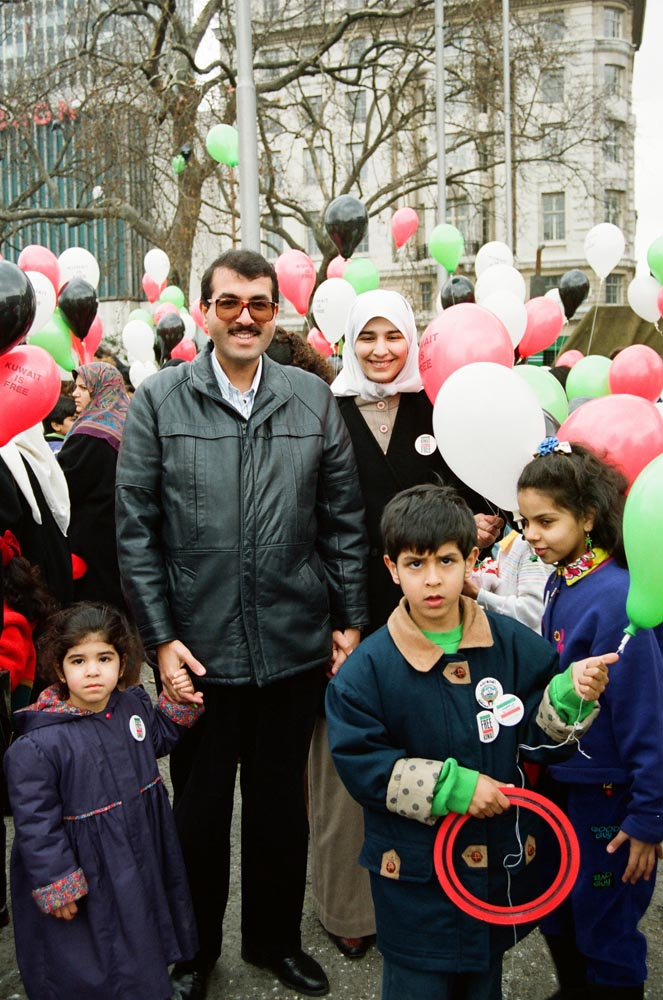 March 2, 1991  Kuwaitis celebrating liberation at Marble Arch included Fouzi Al-Qassar, his wife Salma Al-Eisa, and their children.