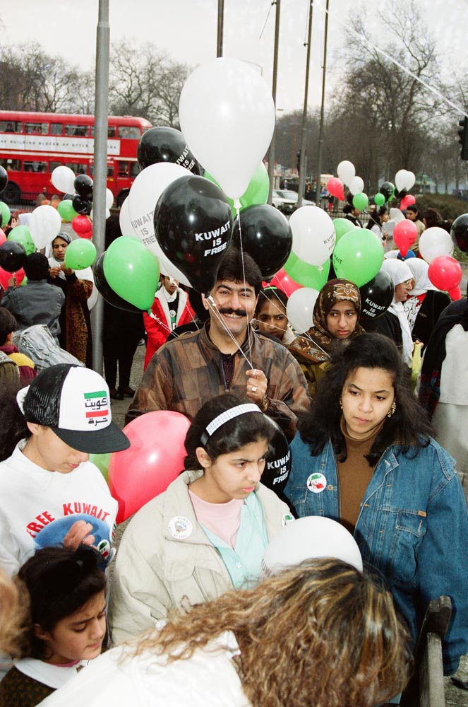 March 2, 1991  Kuwaitis celebrating liberation at Marble Arch included (in center) Salman Haider with balloons.