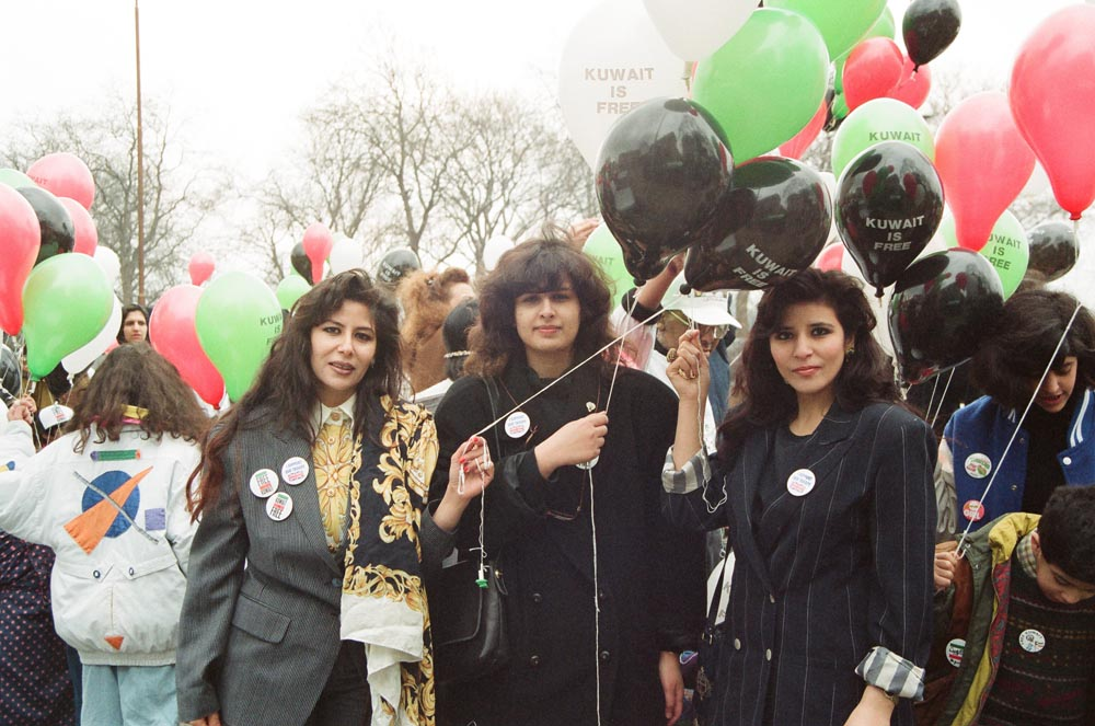 March 2, 1991  FKC supporters celebrating liberation at Marble Arch. In the center is Sheikha Moudhi Al-Sabah.