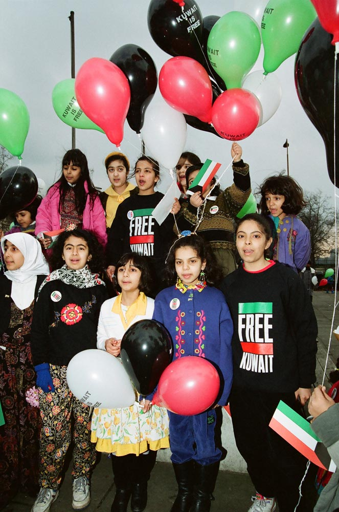 March 2, 1991  Kuwaiti children singing in honor of liberation at Marble Arch
